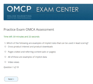 A question from the OMCA exam that covers email marketing automation and lead scoring
