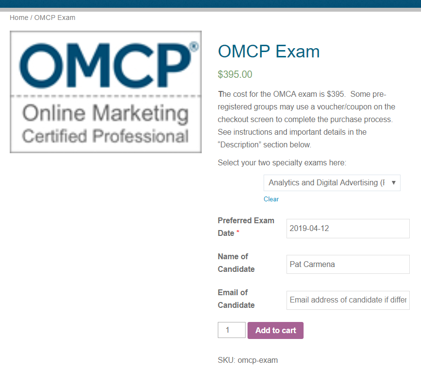 REgister for OMCP Digital Marketing Exam