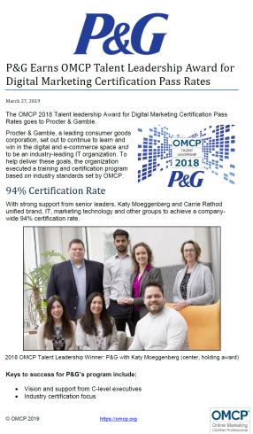 Digital Marketing Certification Award 2019