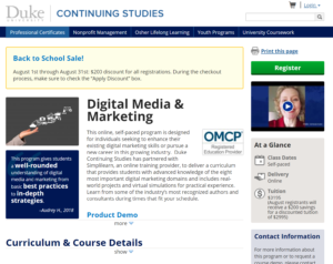 OMCP Digital Marketing Course at Duke University